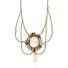 $1,300, c. 1900 vintage gold, pearl and agate necklace