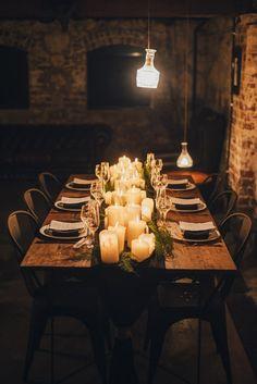 Industrial Candlelit Wedding Inspiration | Izo Photography on @polkadotbride via @aislesociety