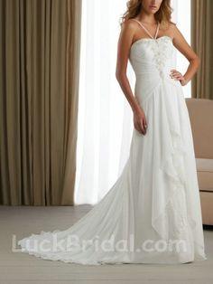 Spaghetti Straps Wedding Gown Chiffon Satin Appliques Beading Wedding Dress
