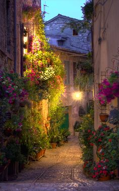 Calle Spello - Umbria - Italia by Ignacio Vicent ~ Italy* Places Around The World, The Places Youll Go, Places To See, Places To Travel, Around The Worlds, Travel Destinations, Umbria Italia, Wonderful Places, Beautiful Places