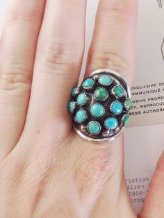 Bohemian turquoise ring that makes a statement! Multiple turquoise cabochon stones in a Sterling silver setting. A personal favorite from my Etsy shop https://www.etsy.com/listing/385426526/vintage-multi-stone-turquoise-statement