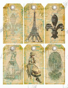 Printable Vintage French Parisian Fleur de Lis, Eifel Tower, Etc.Teal Blue & Brown Gift Tags,Cards, Etc-Digital Collage Sheet Download. $3.75, via Etsy.