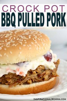 Crock Pot BBQ Pulled Pork is a delicious way to feed a crowd. It takes just minutes to prepare and is tender, flavorful, and irresistible! #InspirationalMomma #crockpotbbqpulledpork #bbqpulledpork #crockpot #slowcookerbbqpulledpork #slowcooker #partyfood #pulledporksandwiches Bbq Pork, Pulled Pork, Slow Cooker Recipes, Crockpot Recipes, Holiday Recipes, Party Recipes, Honey Bbq, Barbecue Recipes, Pinterest Recipes
