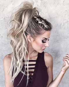high messy pony with braids