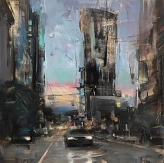 """""""Sunset Towers"""" 12""""x12"""" oil on panel."""