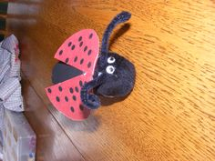 Paint a toilet paper roll black. Glue a large black pompom into one end and glue on eyes. Cut out red wings and glue on black dots. Add pipe cleaner for antennae.