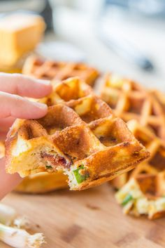 Bacon Cheddar Waffles are a delicious savory recipe for breakfast or brunch!