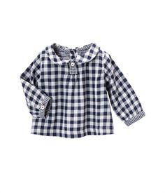 Baby girl round neck, tubic cotton, Vichy check blouse blue Smoking - Petit Bateau