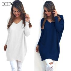 78ab58cc0 BEFORW V Neck Women Sweaters Fashion Autumn Winte Sweater 2017 Hot Women  Hedging Loose Pullover Casual