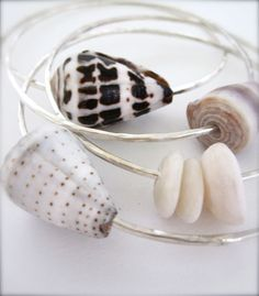 Shell Bracelet Sterling silver Hawaiian shell by Tidepools Seashell Jewelry, Beach Jewelry, Diy Jewelry, Jewelry Making, Summer Jewelry, Shell Bracelet, Shell Necklaces, Beachy Bracelets, Do It Yourself Jewelry