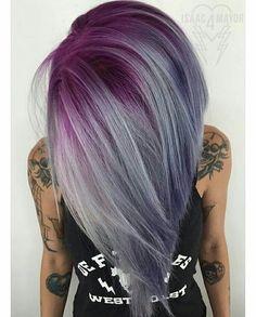 Purple with gray a-line Bob
