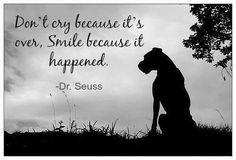 Don't cry because it's over. Smile because it happened. - Dr. Seuss #dogloss