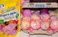 Easter egg hunt for babies/toddlers. Fill with puffs, Cheerios, yogurt melts Easter Hunt, Easter Party, Hoppy Easter, Easter Eggs, Baby's First Easter Basket, Yogurt Melts, Somebunny Loves You, Easter Treats, Easter Desserts