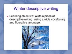 Winter Words - Descriptive writing, can be used with various Keys stages right up to GCSE level. Secondary KS3 & KS4  || Ideas and inspiration for teaching GCSE English || www.gcse-english.com ||