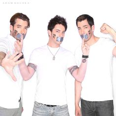 NOH8 Campaign - Jonathan Scott, JD Scott, & Drew Scott - The Scott Brothers   - See more: http://www.noh8campaign.com/photo-gallery/familiar-faces-part-7/photo