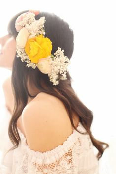 Yellow and cream floral crown