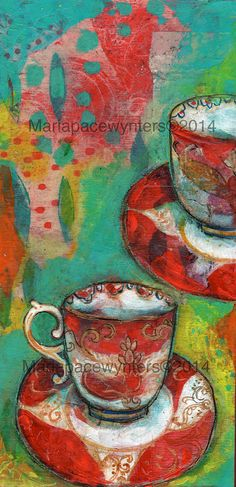 Red Teacups- Original mixed media painting by Maria Pace-Wynters