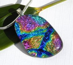 Multicolor Dichroic Glass Jewelry - Fused Glass Pendant - Rainbow Glass Necklace by TremoughGlass on Etsy