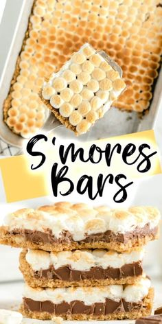 S'mores Bars Recipe (Starbucks Copycat Recipe) - All the delicious flavors of a s'more in this easy and gooey dessert! Graham cracker crust, melted chocolate bars, and mini marshmallows all baked in the oven to create this easy anytime dessert! Smores Bar Recipe, Smores Cups, Dessert Dips, Summer Dessert Recipes, Easy Yummy Desserts, Recipes For Desserts, Bar Recipes, Easy Desert Recipes, Easy Sweets