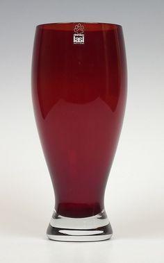 Riihimaki ruby cased glass vase