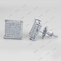 DTJEWELS 14K White Gold Plated Silver Mens /& Ladies 0.07 Carat Pink Sapphire Square Stud Earrings