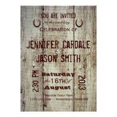 Horseshoe Typography Wedding Invitations - Rustic Country Wedding Invitations