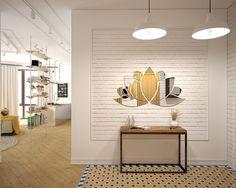 Для оформления выбран стиль лофт с декором в восточной тематике. Зеркало в виде цветка лотоса.