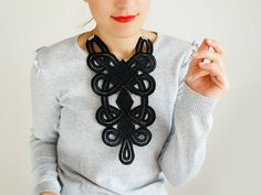 NECKLACE // Ahenobarba // Handmade Black  Lace Collar by EPUU, $40.00