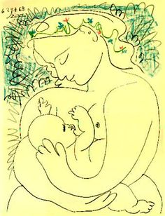 "This picture hung in my parents' home all my life.  ""Mother and Child"" by Pablo Picasso."