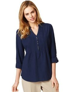 Pure Cotton Self Striped Shirt - Marks & Spencer