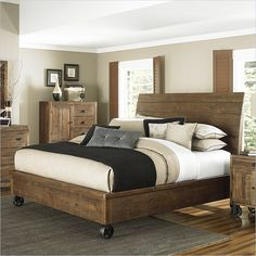 Magnussen River Ridge Wood Island Bed with Casters in Natural - B2375-XX-CASTERBED - Lowest price online on all Magnussen River Ridge Wood Island Bed with Casters in Natural - B2375-XX-CASTERBED