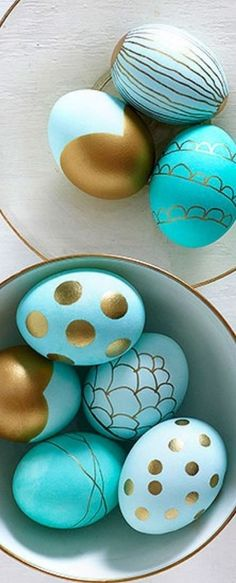 Turquoise and Gold Easter Eggs