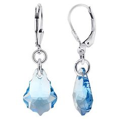 Gem Avenue Sterling Silver Swarovski Elements Aquamarine Color Drop Handmade Crystal Earrings ** Want additional info? Click on the image.