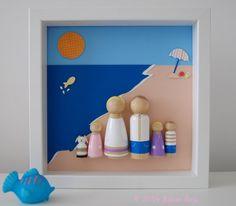 Custom Beach Peg Doll Family Wall Art