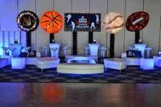 Club Theme Party Ideas - Sports Theme Teen Lounge Bar Mitzvah, LED Tables - Hockey, Basketball, Baseball, Football {Balloon Artistry} - www.mazelmoments.com/blog/19023/lounge-club-nightclub-theme-ideas-bar-bat-mitzvah-party-sweet-16/