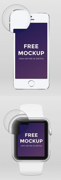 Free Apple Watch iPhone 6 & iPhone 5 .sketch Mockup