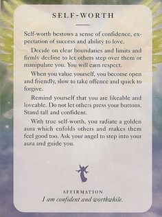 Angel Card: 05 July 2013: Self-Worth