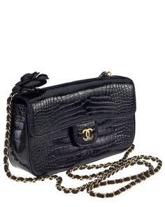Pre-owned Chanel Satin Camellia Flap Black Cross Body Bag ( 3 c0d8590b62479