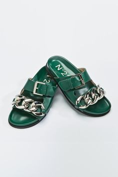Slide Sandals, Shoes Sandals, Flat Shoes, Flats, Green Leather, Calf Leather, Best Shoe Stores, Marni Shoes, Green Sandals