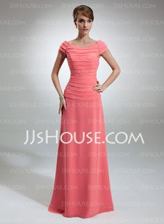 A-Line/Princess Off-the-Shoulder Floor-Length Chiffon Mother of the Bride Dress With Ruffle Beading (008006053) - JJsHouse