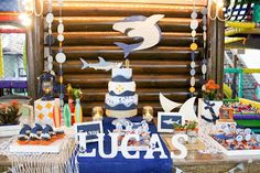 Quintal Festeiro - Gisele Caceres: Festa do Tubarão 1st Birthday Party Themes, 5th Birthday, Birthday Ideas, Shark Party, Party Snacks, Wind Chimes, Baby Shower, Holiday Decor, Outdoor Decor