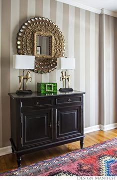 Design Manifest: Striped foyer with pink tribal rug, peacock mirror, striped walls Peacock Mirror, Small Entryways, Interior Decorating, Interior Design, Interior Ideas, Decorating Ideas, Decor Ideas, Striped Wallpaper, Black Cabinets