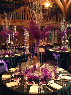 Cool-white pealight decoration, table centres with feathers and pealights at Cain Manor Nr Hindhead by www.stressfreehire.com #venuetransformers