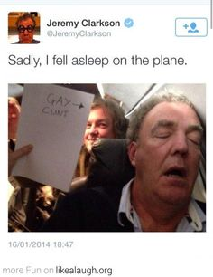 Jeremy Clarkson fell asleep on the plane