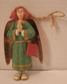 Hallmark Ornament 1996 Caroling Angel Showcase Folk Art Americana Christmas Tree