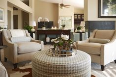Warm Transitional Living Room with white orchards and magnolias. Transitional Living Rooms, Orchards, Magnolias, Ann, Interiors, Interior Design, Home, Magnolia Trees, Nest Design
