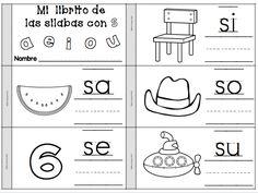 SA, SE, SI, SO, SU  Librito de silabas con S. Silabas iniciales, silabas directas