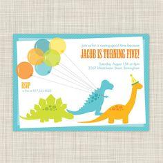 Dinosaur Parade Birthday Invitation from etsy