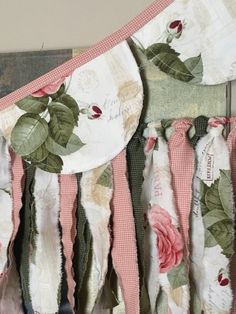 Pretty garland is double sided with a coordinating pink ribbon. Edges are raw for a shabby feel, fabric is a Paris theme. Each scallop measures wide x long. Entire garland is not including tie ends which are each Fabric Bunting, Fabric Squares, Tree Quilt, Paris Theme, Rose Cottage, Embroidery Thread, Linen Fabric, Christmas Stockings, Garland