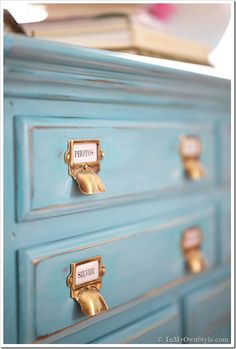 DIY for painting with homemade chalk paint, glazing, distressing AND waxing. With names of all products used. Also how to cover back of unfinished furniture with beadboard wallpaper for a finished look. Looks great!